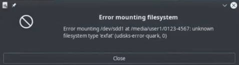 Error Mounting - Unknown Filesystem Type Exfat