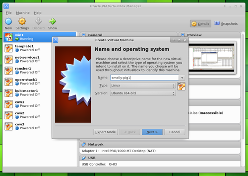 create VM name and operating system