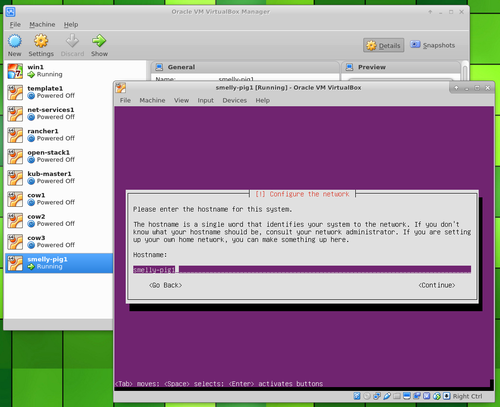 Ubuntu Server in VirtualBox hostname