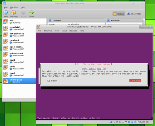 Ubuntu Server in VirtualBox installation complete